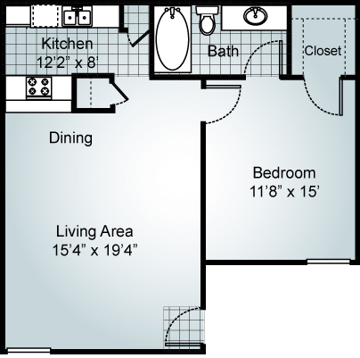 1 Bedroom 1 Bath Floorplan at Parks on the Green, Temple, TX, 76504