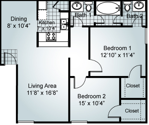 2 Bedroom 1.5 Bathrooms Floorplan at Parks on the Green, Temple, TX