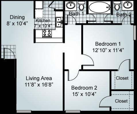 2 Bedroom 1.5 Bathrooms Floor Plan 3