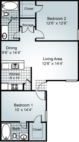 2 Bedroom 2 Bathroom Floorplan at Parks on the Green, Temple, 76504