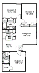 3 Bedroom 2 bathroom Floorplan at Parks on the Green, Temple, Texas