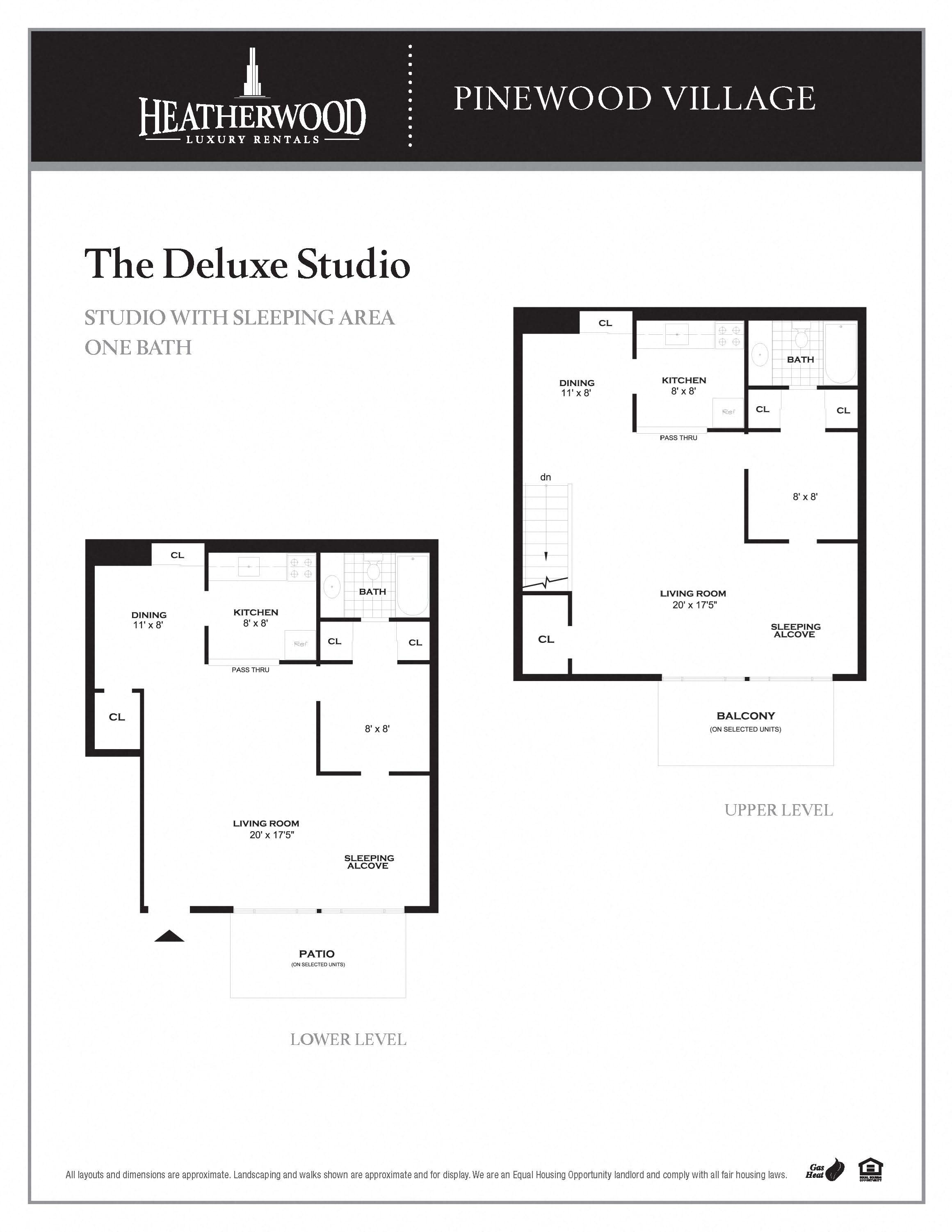 The Deluxe Studio Floorplan at Pinewood Village