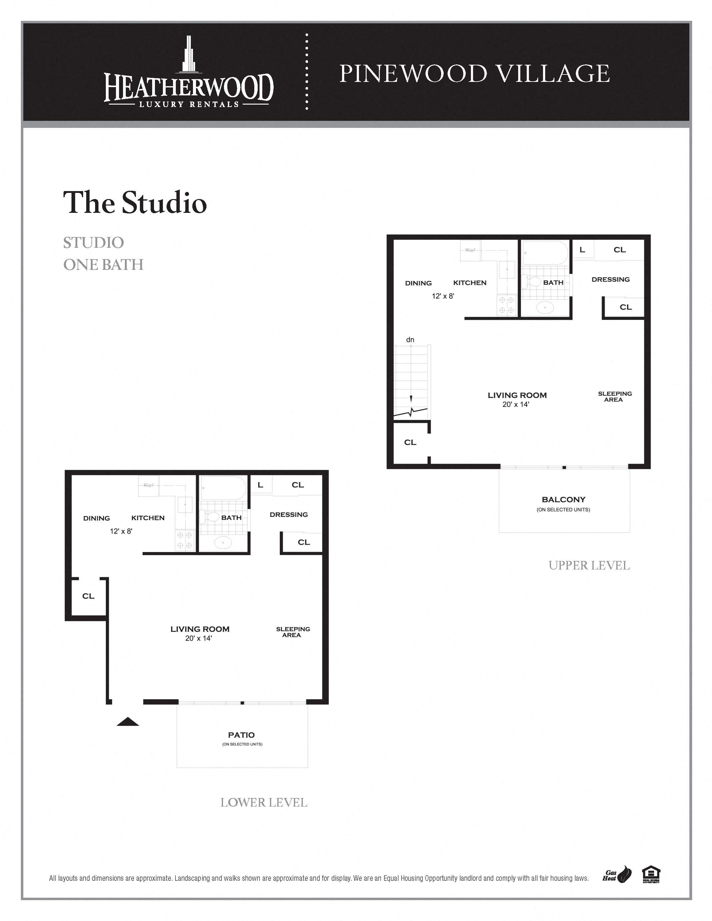 The Studio Floorplan at Pinewood Village