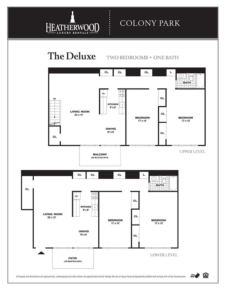 the deluxe floor plan at Colony Park, Ronkonkoma, New York