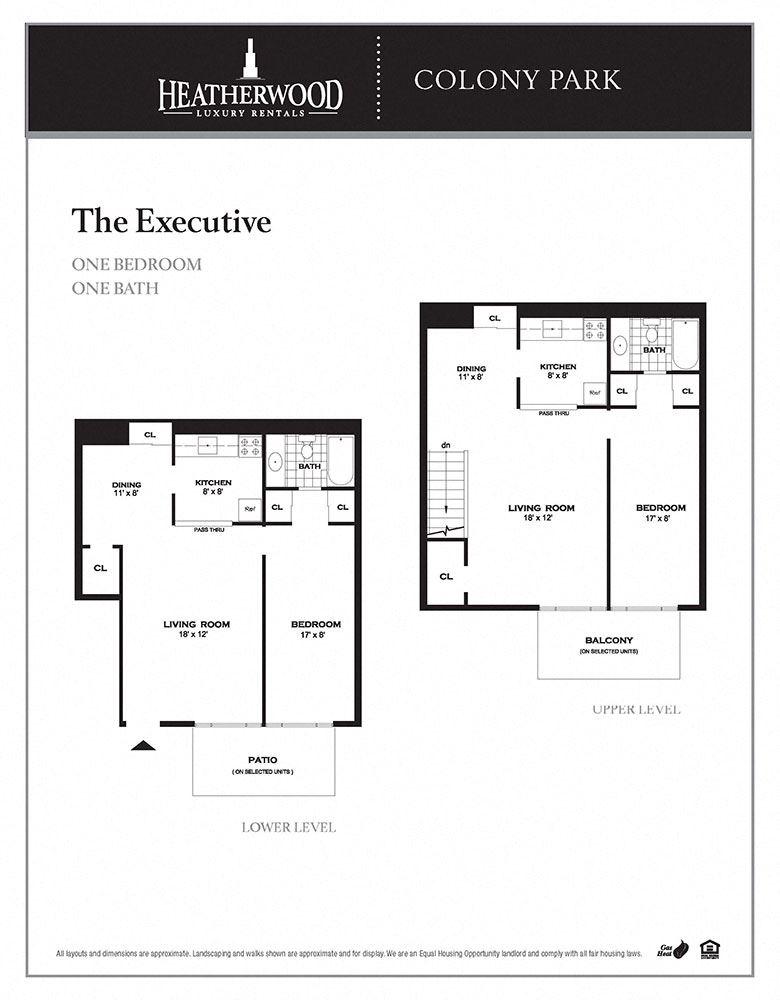 The executive floor plan at Colony Park, Ronkonkoma, NY