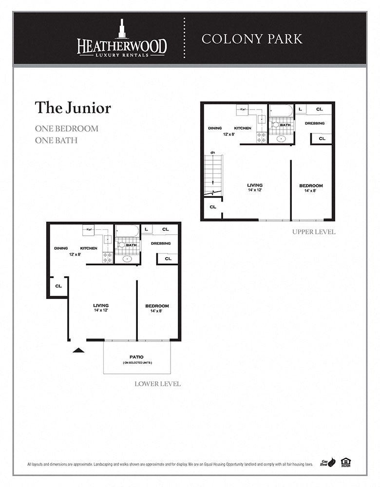 The junior floor plan at Colony Park, Ronkonkoma, NY, 11779