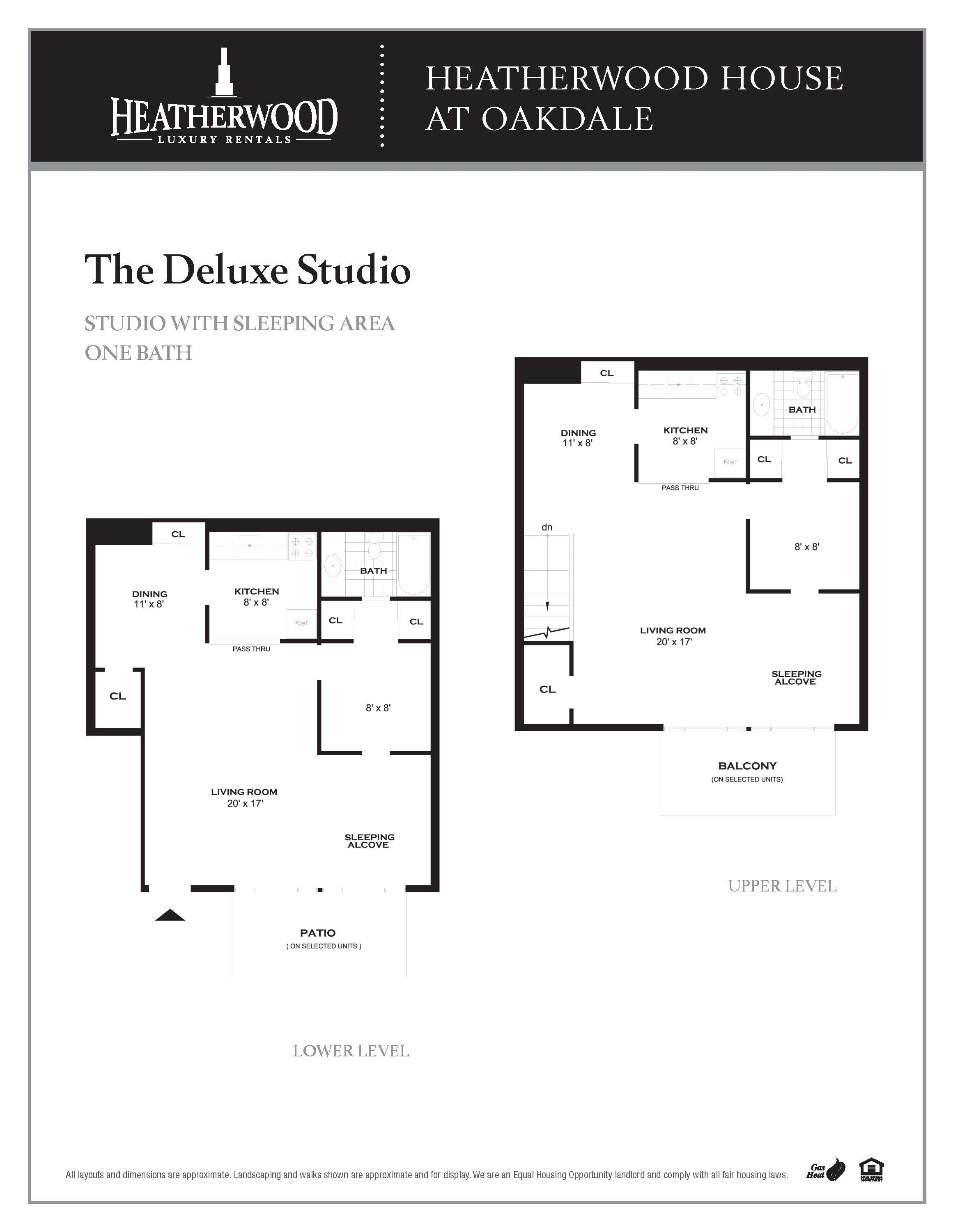 The Deluxe Studio Floorplan at HH Oakdale