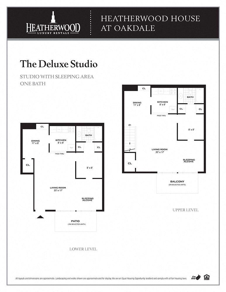 The Deluxe Studio Floorplan at Heatherwood House at Oakdale, Bohemia, NY, 11716