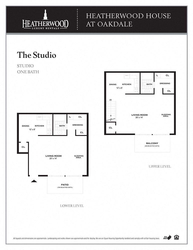 The Studio Floorplan at Heatherwood House at Oakdale, New York, 11716