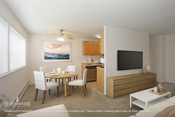 Galley Kitchen Norwich Gate Apartments By Heatherwood Living Area With Dining Room Table