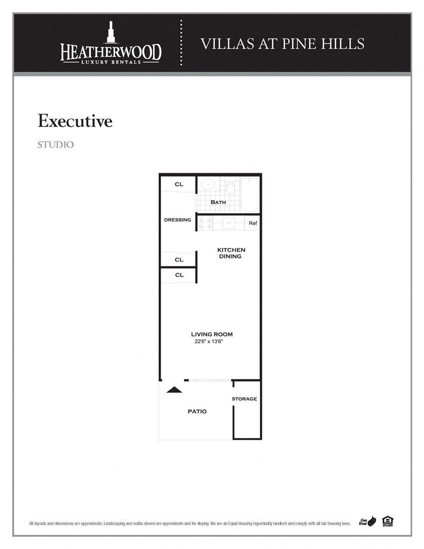The Studio Floorplan at Villas at Pine Hills, Manorville, NY, 11949