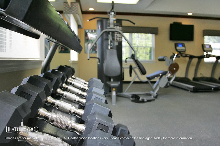 Fitness center at villas at pine hills by heatherwood