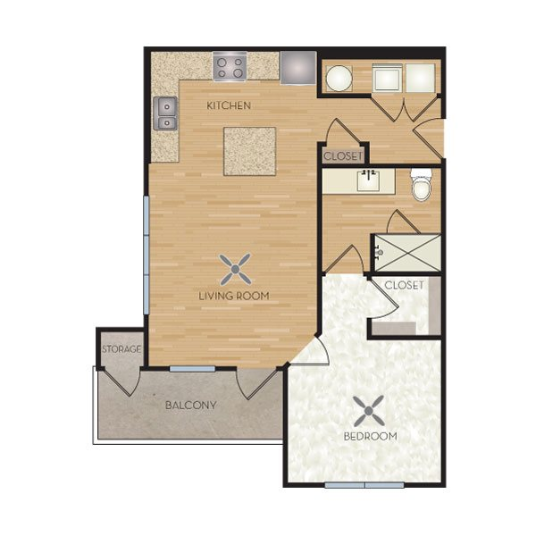 A1 One Bedroom Floorplan