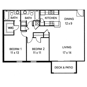 2 Bedroom, 2 Bathroom Extended