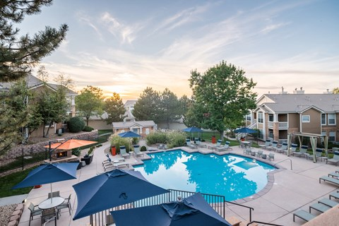 The Heated Salt-Water Pool Is Open Year-Round at The Bluffs at Highlands Ranch, Highlands Ranch, 80129