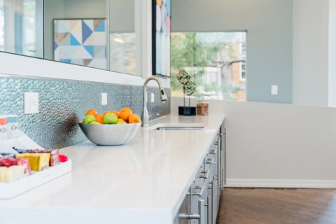 European-Style Kitchen With Breakfast Bar at The Bluffs at Highlands Ranch, Colorado