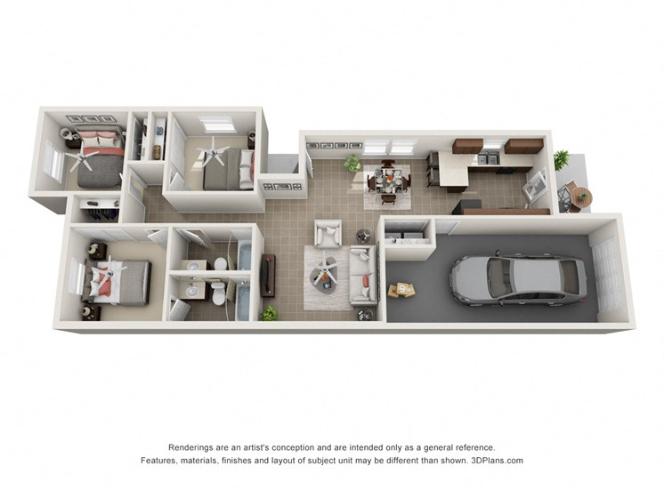 Seminole Run 3 Bedroom 3D Floorplan
