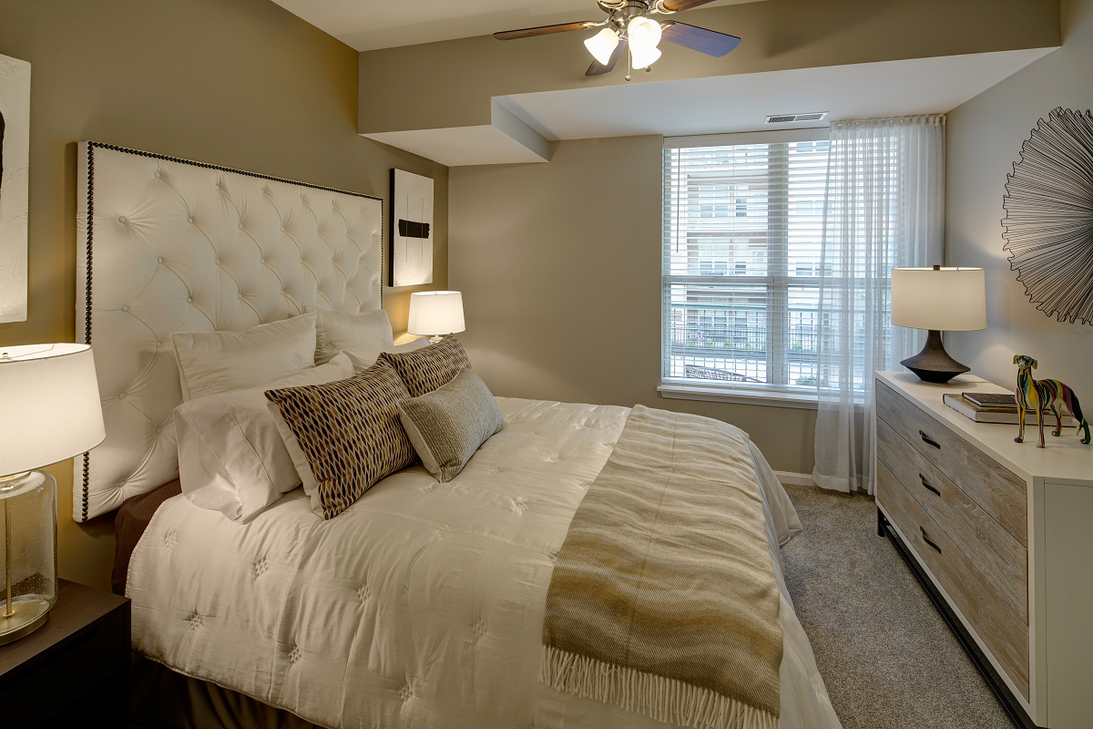 bedroom with large windows at City View at the Highlands, Lombard, IL, 60148