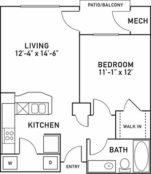 A1 Floor plan at City View at the Highlands, Lombard, 60148