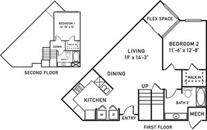 B2 Floorplan at City View at the Highlands, Lombard, Illinois