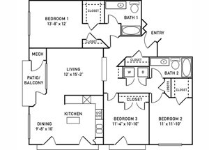 C1 Floorplan at City View at the Highlands, Lombard, IL, 60148