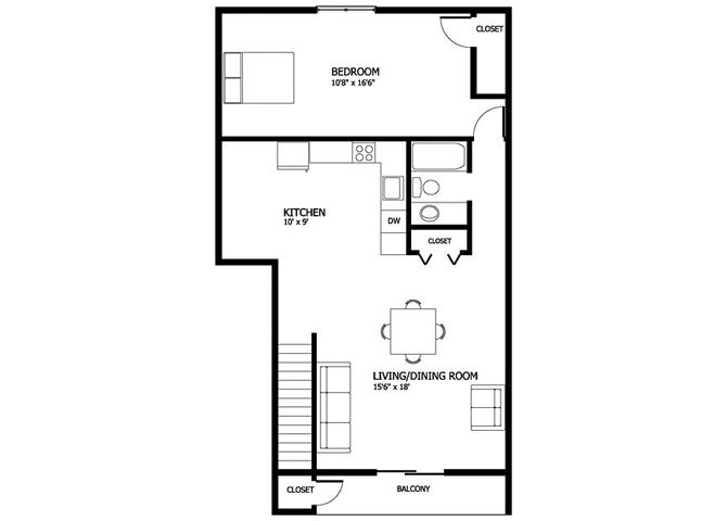 Columbia Gardens 1 Bedroom - End Unit