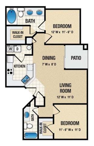 2 Bed 2 Bath Floor Plan 2