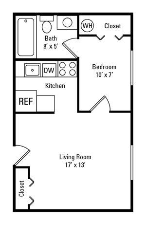 Studio, 1 Bath 250-475 sq. ft.