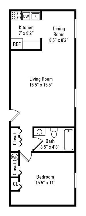 1 Bedroom, 1 Bath 500-945 sq. ft.