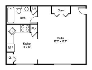 Studio, 1 Bath 475 sq. ft.