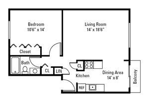 1 Bedroom, 1 Bath 656 sq. ft.