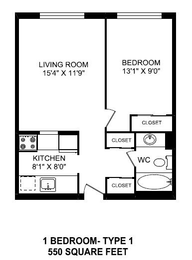 One bedroom, one bathroom apartment layout at St. Lawrence Village in St. Catharines, ON