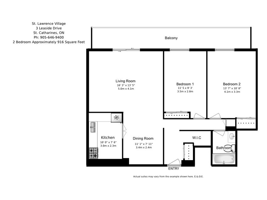 Two bedroom, one bathroom apartment layout at St. Lawrence Village in St. Catharines, ON