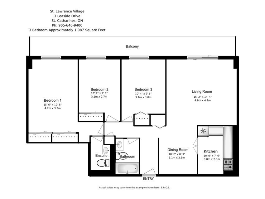 Three bedroom, one bathroom apartment layout at St. Lawrence Village in St. Catharines, ON