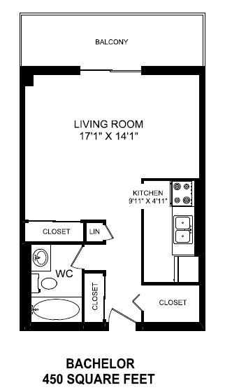 Bachelor, one bathroom apartment layout at St. Lawrence Village in St. Catharines, ON
