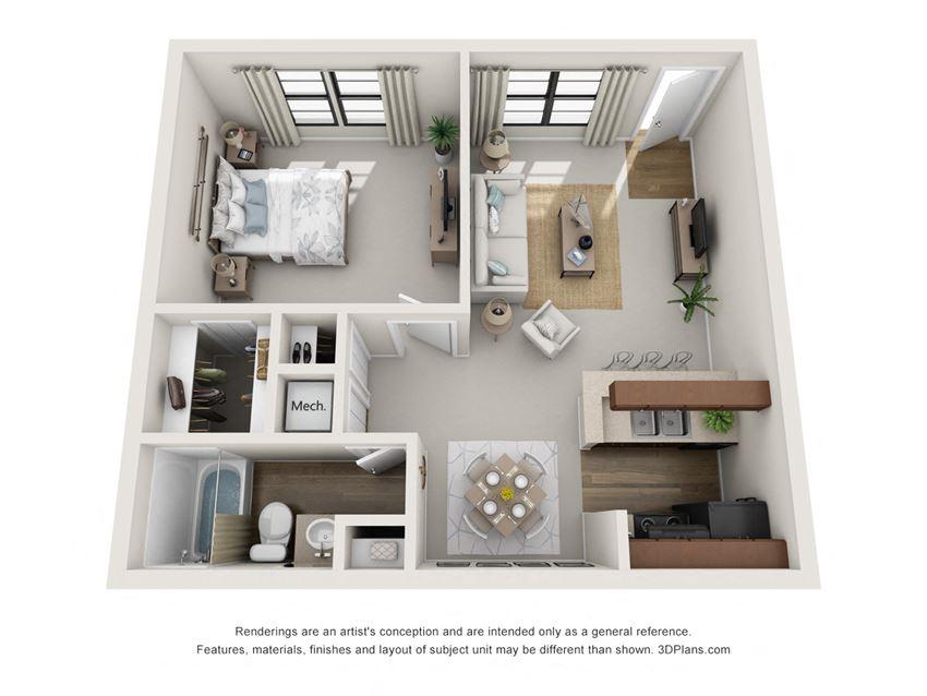 A1 1 Bedroom 1 Bath Floorplan at BayVue, Tampa