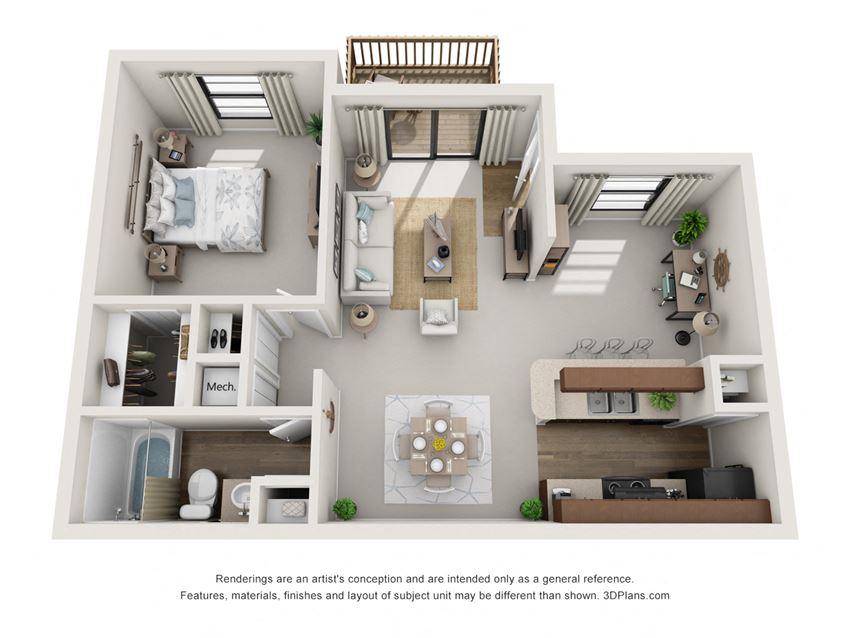 A3 1 Bedroom 1 Bath Floorplan at BayVue, Florida, 33615