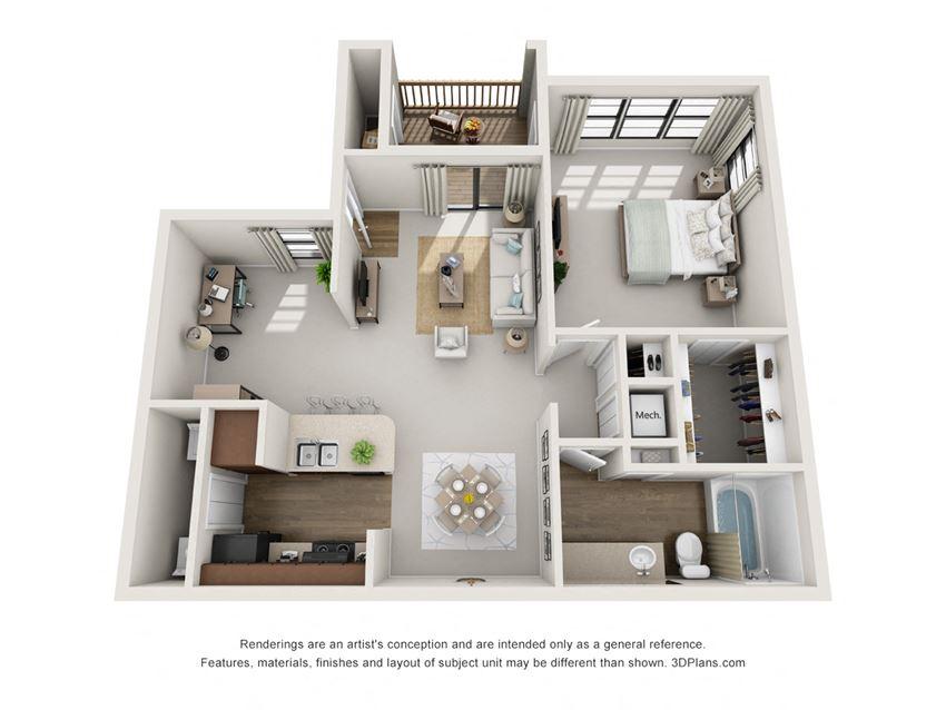 A4 1 Bedroom 1 Bath Floorplan at BayVue, Tampa, FL, 33615
