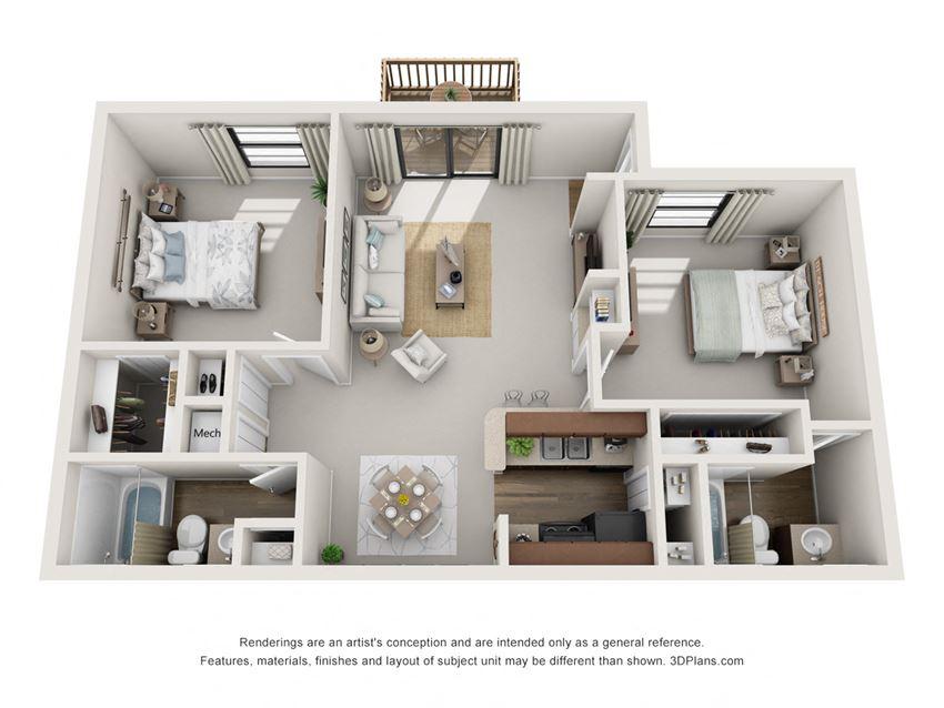 B2 2 Bedroom 2 Bath Floorplan at BayVue, Tampa, 33615