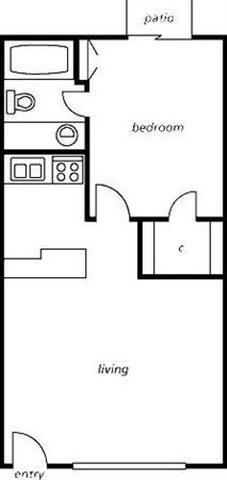 ONE BEDROOM ONE BATH-R Floor Plan 2