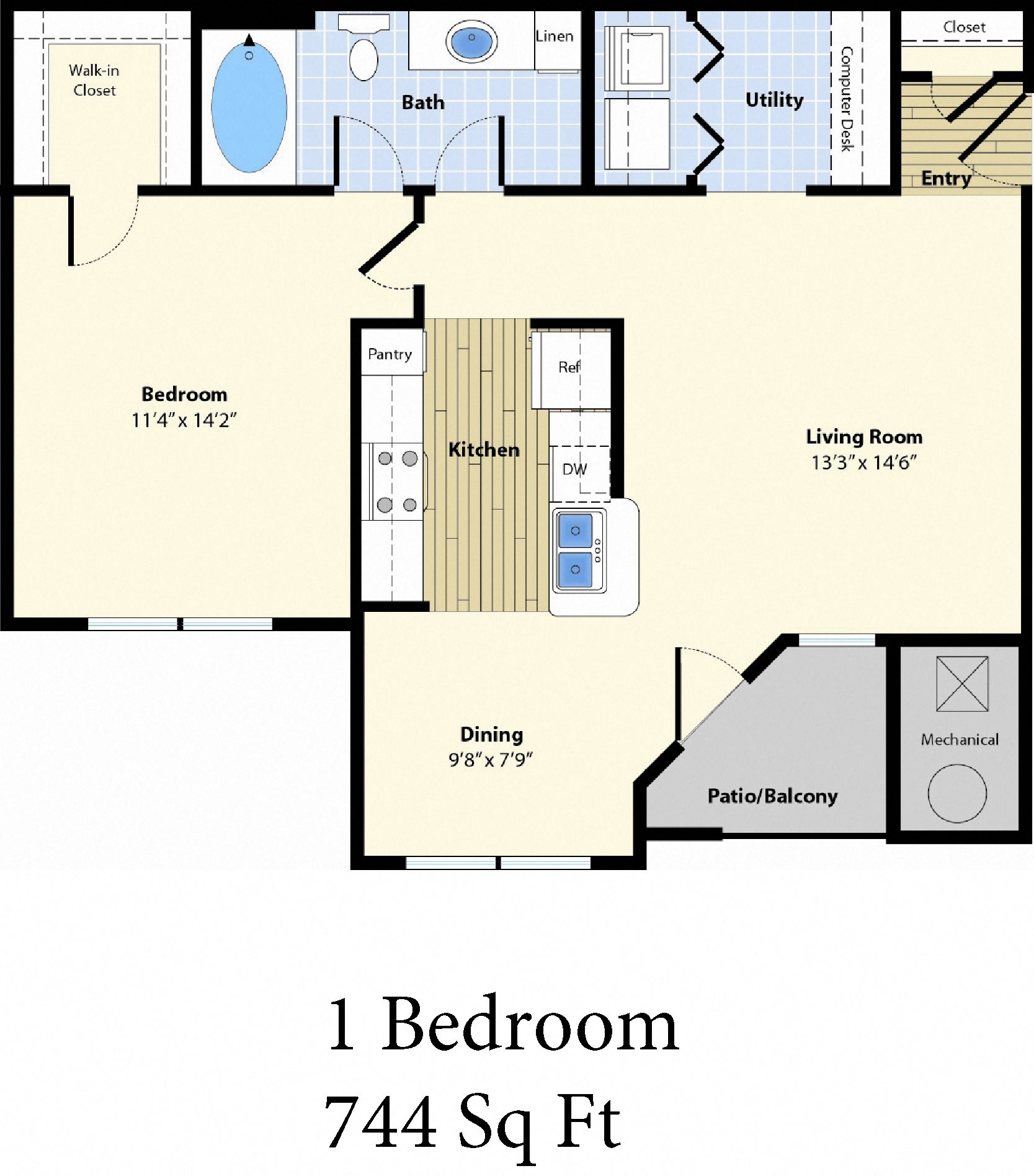 The Commons at Boston Road One Bedroom Apartment Floorplan
