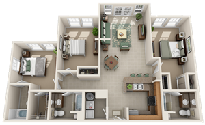 Campus View Place 3/3 Floor Plan