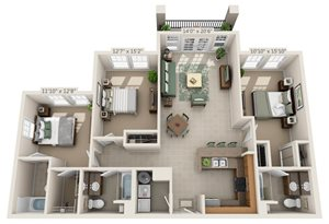 Campus View 3 bedroom floor plan