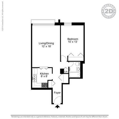 1 BED 1 BATH 1A 3D Floorplan at York Terrace