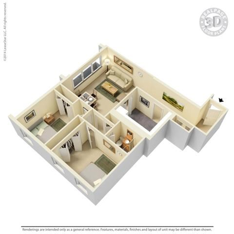 2 BED 1 BATH 2A 3D Floorplan at York Terrace