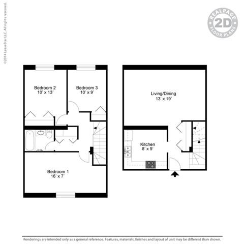 3 BED 1 BATH 3A  3D Floorplan at York Terrace