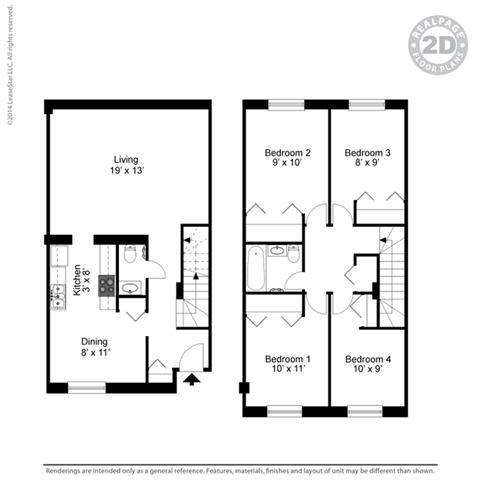 4 BED 1.5 BATH 4A 3D Floorplan at York Terrace