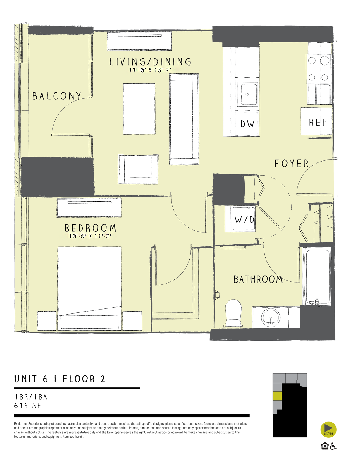 One Bedroom 06B Floor Plan 4