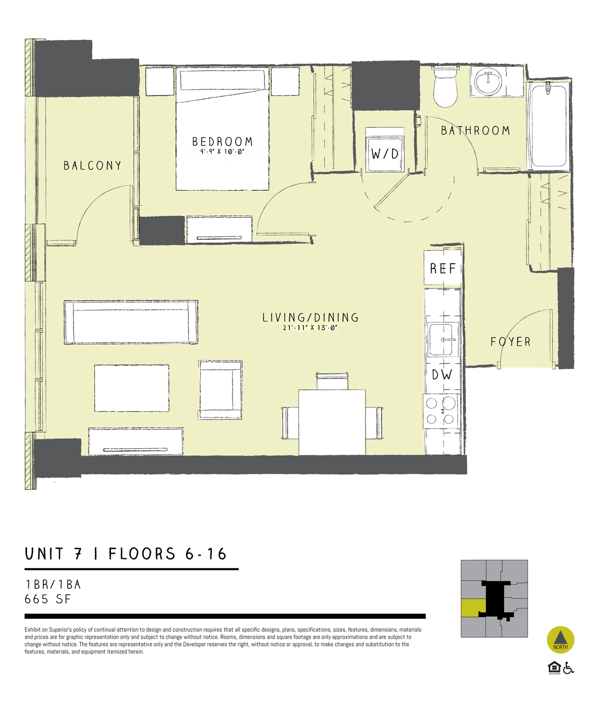 One Bedroom 07B Floor Plan 6