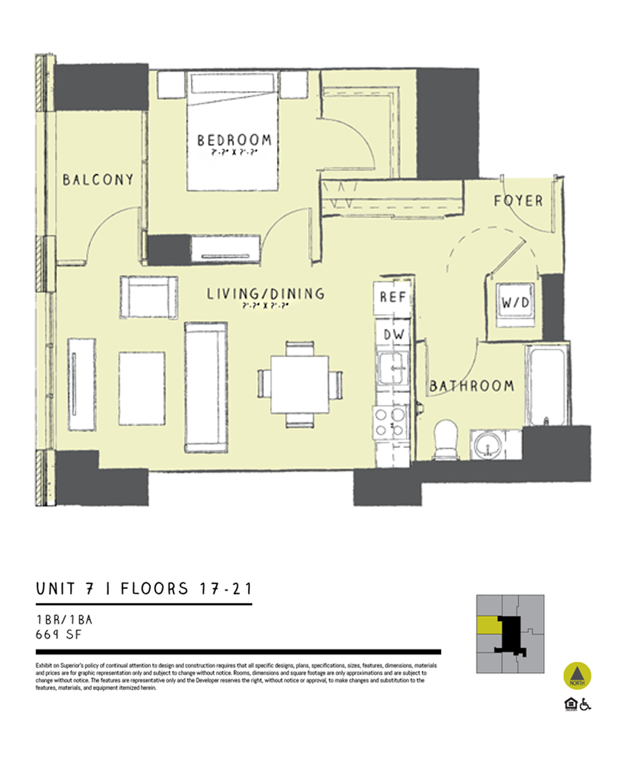 One Bedroom 07C Floor Plan 7